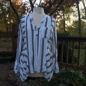Cato White and Black Striped Long Sleeve Shirt XL